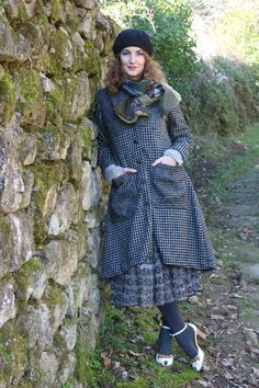 Long coat and scarf, hand made, local production oin France, by Inge de Jonge