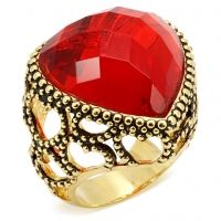 LOVE-With a deep red checker cut center stone, 14k gold band and antique setting--this luxe piece is reminiscent of the royalty for which it is named. Give yourself the royal treatment when you slip it onto your finger. $48  www.jillzarinjewelry.com