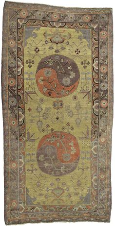 A Samarkand carpet BB4369 - An antique early 20th century Samarkand carpet, the yellow field with vines and geometric floral motifs around ...