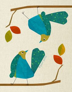 blue love birds - mid century design art print by pool pony. Add the vibrancy and style of the mid-century to your home with this Pool Pony Gravure Illustration, Bird Illustration, Illustrations, Mid Century Art, Mid Century Design, Motif Vintage, Bird Houses Painted, Bird Drawings, Cute Birds