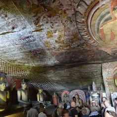 Dambulla Cave Temples - Guide lectures about the painting depicting the Demon Mara trying to attack the Buddha who seeks mother Earth to help him - in Cave 2 Mother Earth, Temples, Sri Lanka, Touring, Attraction, Cave, Buddha, Painting, Temple