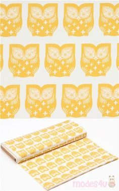 "off-white cotton fabric with mustard yellow owls, Material: 100% cotton, Fabric Type: smooth cotton fabric, Pattern Size: size of the owl: ca. 6.3cm (2.5"") #Cotton #Animals #AnimalPrint #Owls #USAFabrics"