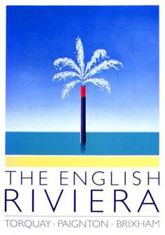 The distinctive English Riviera palm tree logo was created by award-winning designer John Gorham. It was introduced in 1982 and quickly became the identifying icon for the resorts of Torquay, Paignton and Brixham on the coast of South Devon. Vintage Beach Posters, South Devon, Surfboard Art, Tree Logos, Holiday Resort, Beaches In The World, Holiday Destinations, Vintage Travel, Favorite Holiday