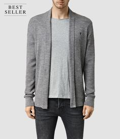 Hommes Mode Merino Open Cardigan (Grey Marl) -