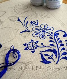 Michelle Palmer flow blue punch needle wip influenced by vintage flow blue china