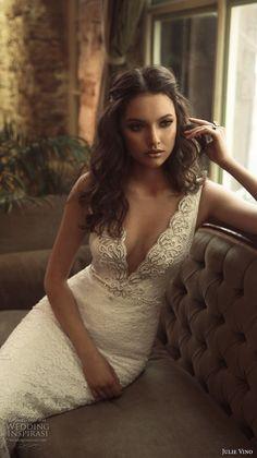 julie vino 2017 bridal sleeveless deep plunging v neck full embellishment elegant sexy fit and flare weding dress open low v back chapel train (1258) zv