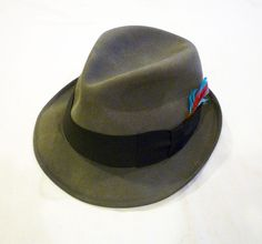 Churchill Ltd Fedora Charcoal Gray Felt Black Grosgrain Ribbon Feather Mens Hat