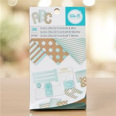We R Memory Keepers - Paper Pad - 3 x 5 - Kraft With Mint Foil - 36 Sheets Artist Supplies, Craft Supplies, We R Memory Keepers, Punch, Memories, Paper, Crafts, Tools, Mint