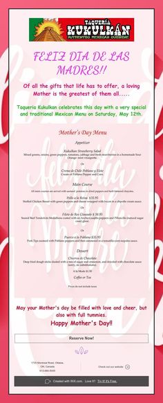 Of all the gifts that life has to offer, a loving Mother is the greatest of them all. Mexican Menu, Appetizer Salads, Events, Gifts, Happy Mothers Day, Gift Boxes, Mothers, One Day, Happenings