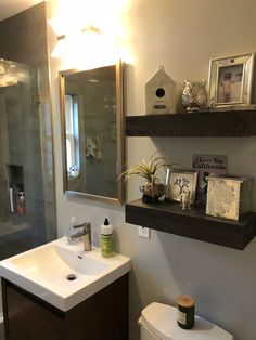Bathroom floating shelves I made out of oak. Floating Shelves, Mirror, Bathroom, Furniture, Home Decor, Washroom, Decoration Home, Room Decor, Wall Mounted Shelves