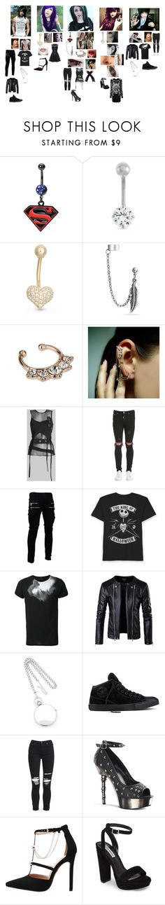 """""""stagefright"""" by bandloverforever12 ❤ liked on Polyvore featuring Gioelli, Bling Jewelry, Miss Selfridge, Mike Saatji, Represent, Ann Demeulemeester, Charles Hubert, Converse, AMIRI and Demonia"""