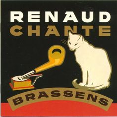 Cats in Art, Illustration, Photography, Design and Decorative Arts: Renaud - Chante Brassens (Virgin France, 1996) - album cover