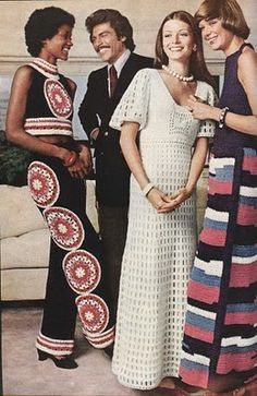 Crocheted fashions: Medallion pant set pattern from McCall's Needlework & Crafts, spring/summer Aaaaaaahhhhhhhh! Crochet Long Dresses, Vintage Crochet Dresses, Vintage Crochet Patterns, Crochet Skirts, Vintage Knitting, Crochet Clothes, Seventies Fashion, 70s Fashion, Fashion History
