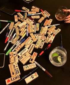 """Instructions evidently unclear. Write code words on Jenga . Set up Jenga as usual. . Pull Jenga piece out. Follow instructions on list. Pull piece """"Date <3"""" from Jenga tower? --> Pick someone to 'date' for the rest of the game, when you drink, they drink, and vice versa (list included in link)"""