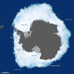 Two weeks after a new record was set in the Arctic Ocean for the least amount of sea ice coverage in the satellite record, the ice surrounding Antarctica reached its annual winter maximum—and set a record for a new high. Sea ice extended over 19.44 million square kilometers (7.51 million square miles) in 2012.