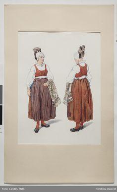 Helgdagsdräkt för gift kvinna, Häverö socken, Uppland. Akvarell av Emelie von Walterstorff. (E.v.Walterstorff.)
