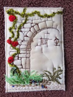 embroidery -- This would make a great cover for any type of handmade book or to cover a purchased journal.