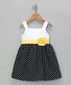 Black & Yellow Monica Dress - Girls by Joe-Ella on today! Toddler Girl Dresses, Toddler Outfits, Toddler Girls, Fashion Kids, Toddler Fashion, Little Girl Dresses, Girls Dresses, Cute Outfits For Kids, Kind Mode