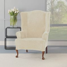 Stretch Plush Cream Wing Chair Slipcover - Overstock™ Shopping - Big Discounts on Sure Fit Recliner & Wing Chair Slipcovers Furniture, Recliner Slipcover, Blue Chair, Slipcovers For Chairs, Cushions On Sofa, Chair, Tire Furniture, Ottoman Slipcover, Wing Chair