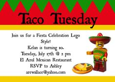 Lego Movie Taco Tuesday Party Invitation. Instant Download from my etsy store.