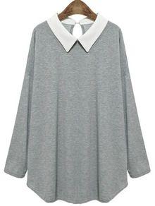 Grey Contrast Collar Long Sleeve T-Shirt