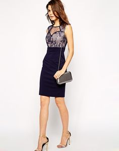 Enlarge Little Mistress Sweetheart Pencil Dress with Lace Panels