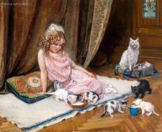 Hedwig Mechle-Grossmann (1857 – 1928, German) The Proud Mother Cat