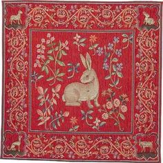 medieval tapestry with rabbits