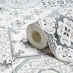 Tiles Black Wallpaper   Departments   DIY at B&Q
