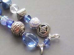 Blue, White, and Silver Beaded Watch Band, Interchangeable, Stretchy | sassylu - Jewelry on ArtFire