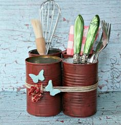 DIY: Rustic painted tin can craft   #repurpose #craft