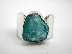 Silver raw apatite ring rough apatite crystal by nikiforosnelly