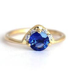 One Carat Sapphire Engagement Ring  18k Solid Gold by artemer