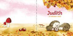Lilalein Geboortekaartje met illustraties van Marjolein Hund | Geboortekaartje herfst met egels!
