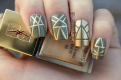Green and Gold Aztec Design #beauty #nails