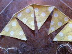 Yellow Polka Dot Burlap Banner / Bunting by TwoChikkadees on Etsy