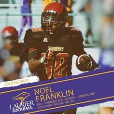 "158 Likes, 3 Comments - laurierfootball.com (@laurierfootball) on Instagram: ""Great news! Another Golden Hawk takes flight tonight with the commitment of 6'0 180pd WR Noel…"""