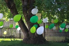 I used the hanging balloon idea not only as decoration, but also as an obstacle for a Nerf gun war at my son's birthday party. I loved how it turned out!