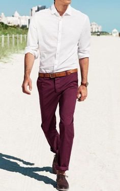 colored pants, men style, white shirts, outfit, men fashion, color pant, bold colors, man, red wines