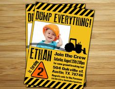 Construction Birthday Party Invitation / invite - Personalized DIY Construction site birthday party decorations. $12.00, via Etsy.