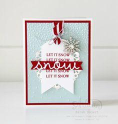 Sparkly Season stamp set and Seasonal Frame Thinlits ~ Sarah Sagert Create Christmas Cards, Christmas Card Crafts, Stampin Up Christmas, Xmas Cards, Holiday Cards, Christmas 2019, Snowflake Cards, Snowflakes, Scrapbooking