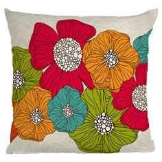Multicolor throw pillow with a floral motif. Designed by artist Valentina Ramos.     Product: PillowConstruction Material: Woven polyester cover and polyester fillColor: MultiFeatures:  Sealed closureInsert includedSix color dye process, custom printed for every orderDesigned by Valentina Ramos for DENY Designs Cleaning and Care: Spot treat with mild detergent