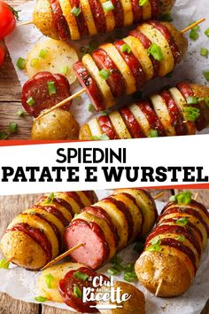 Spiedini patate würstel  Idea per buffet