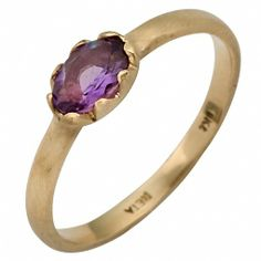 Classic Matte Amethyst Solitaire Ring in 14k Yellow Gold. $226.00, via Etsy.
