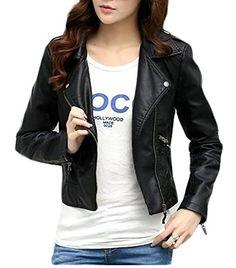 8ccb23cfa403bc ARRIVE GUIDE Womens Slim Zipper Short Biker Faux Leather Coat Jacket Black  XXS Clothes Women