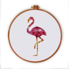 Geometric flamingo pattern geometric cross stitch by ThuHaDesign