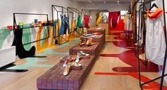 Canadian fashion retailer Annie Aime features geometric clothing racks by Tongtong and artwork by Pascal Paquette