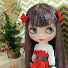 Red Bow Hair Clips Barrettes for Blythe & Pullip Dolls | Brown Eyed Rose ~ Regina Irwen