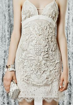 roberto-cavalli white lace cocktail dress