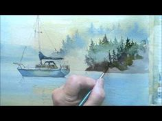 How to paint trees in the mist - YouTube